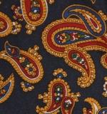Schleife - Marineblau mit rot-gelbem Paisley - Selbstbinder