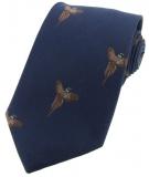 Krawatte mit Jagdmotiv - Marineblau/Fasan im Flug 1
