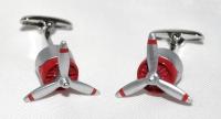 Manschettenknöpfe - Triebwerk mit Propeller rot