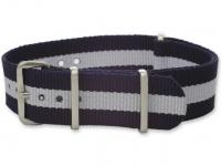 Textiles Uhrenarmband - Nato Strap - Marineblau/Weiß