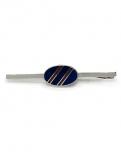 Krawattenklammer - silberfarben blau/rot gestreift