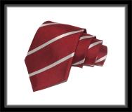 Krawatte - Clubstreifen - Karminrot/Silberweiß