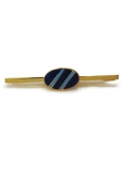 Krawattenklammer - goldfarben blau/hellblau gestreift