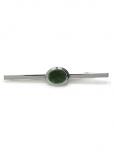 Krawattenklammer - silberfarben mit Halbedelstein Jade