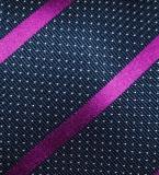 Krawatte - Magenta Streifen/Dots/Marineblau