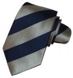 Krawatte - Clubstreifen - Marineblau/Silbergrau
