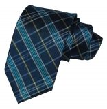 Krawatte - Blau/Petrol/Gelb/Weiß gestreift