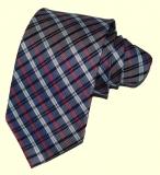 Krawatte - Grau/Blau/Rot/Weiß gestreift