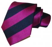 Krawatte - Clubstreifen - Marineblau/Magenta