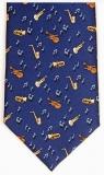 Krawatte - Musiksymbole auf marineblauem Grund