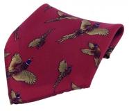 Einstecktuch - 100% Seide - fliegende Fasane auf weinrotem Grund