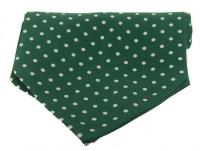 Krawattenschal - 100% Seide - weiße Punkte auf grünem Grund