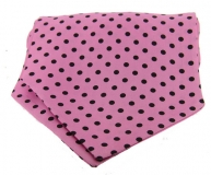 Krawattenschal - 100% Seide - schwarze Punkte auf pinkem Grund