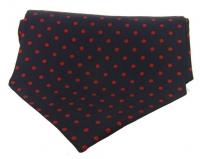 Krawattenschal - 100% Seide - rote Punkte auf marineblauem Grund