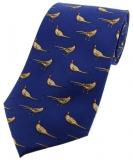 Krawatte mit Jagdmotiv - stehende Fasane auf blauem Grund