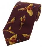 Krawatte mit Jagdmotiv - fliegende Fasane auf weinrotem Grund