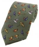 Krawatte mit Jagdmotiv - Landvögel auf grünem Grund