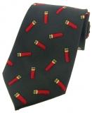 Krawatte mit Jagdmotiv - Schrotpatronen auf grünem Grund