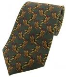 Krawatte mit Jagdmotiv - Fasanenpaar auf grünem Grund