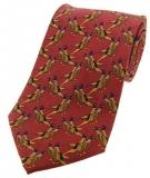 Krawatte mit Jagdmotiv - Fasanenpaar auf rostrotem Grund