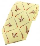 Krawatte mit Jagdmotiv - Enten/Flinten auf gelbem Grund