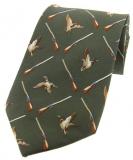 Krawatte mit Jagdmotiv - Enten/Flinten auf grünem Grund