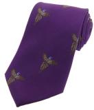 Krawatte mit Jagdmotiv - fliegende Fasane auf lila Grund