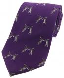 Krawatte mit Jagdmotiv - boxende Hasen auf lila Grund