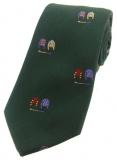 Krawatte - Jockey-Shirts auf grünem Grund