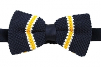 Strickschleife - Marineblau/Gelb/Weiß - vorgebunden