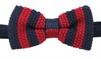 Strickschleife - Marineblau/Rot - vorgebunden