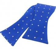 Schleife - Weiße Punkte auf königsblauem Grund - Selbstbinder