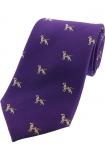 Krawatte mit Jagdmotiv - Pointer Dog auf lila Grund