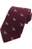 Krawatte mit Jagdmotiv - Pointer Dog auf weinrotem Grund