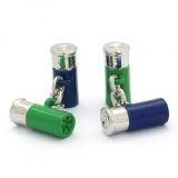Manschettenknöpfe - Schrotpatrone grün und blau mit Kette
