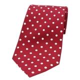 Krawatte - Weiße Punkte auf weinrotem Grund