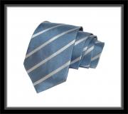 Krawatte - Clubstreifen - Hellblau/Silberweiß