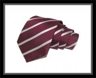 Krawatte - Clubstreifen - Weinrot/Silberweiß