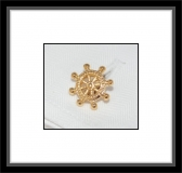 Manschettenknöpfe - Schiffssteuerrad / goldfarben