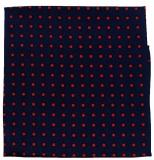 Einstecktuch - 100% Seide - Blau mit roten Punkten
