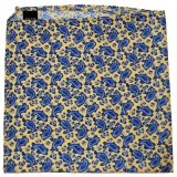Einstecktuch - 100% Seide - Gelb mit blauem Paisley