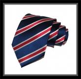 Krawatte - Clubstreifen - Marineblau/Silberweiß/Rot