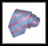 Krawatte - Clubstreifen - Hellblau/Rosa/Pink