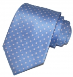 Krawatte - Hellblau mit rosa Punkten