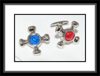 Manschettenknöpfe - Hot and Cold/silberfarben Blau und Rot