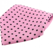 Einstecktuch - 100% Seide - Rosa mit schwarzen Punkten