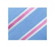 Krawatte - Clubstreifen - Hellblau/weiß/Pink