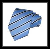 Krawatte - Clubstreifen - Hellblau/weiß/Marineblau