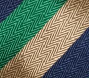 Krawatte - Clubstreifen - Marineblau/Grün/Gold