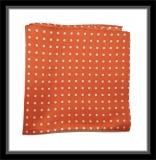 Einstecktuch - 100% Seide - Orange mit weißen Punkten